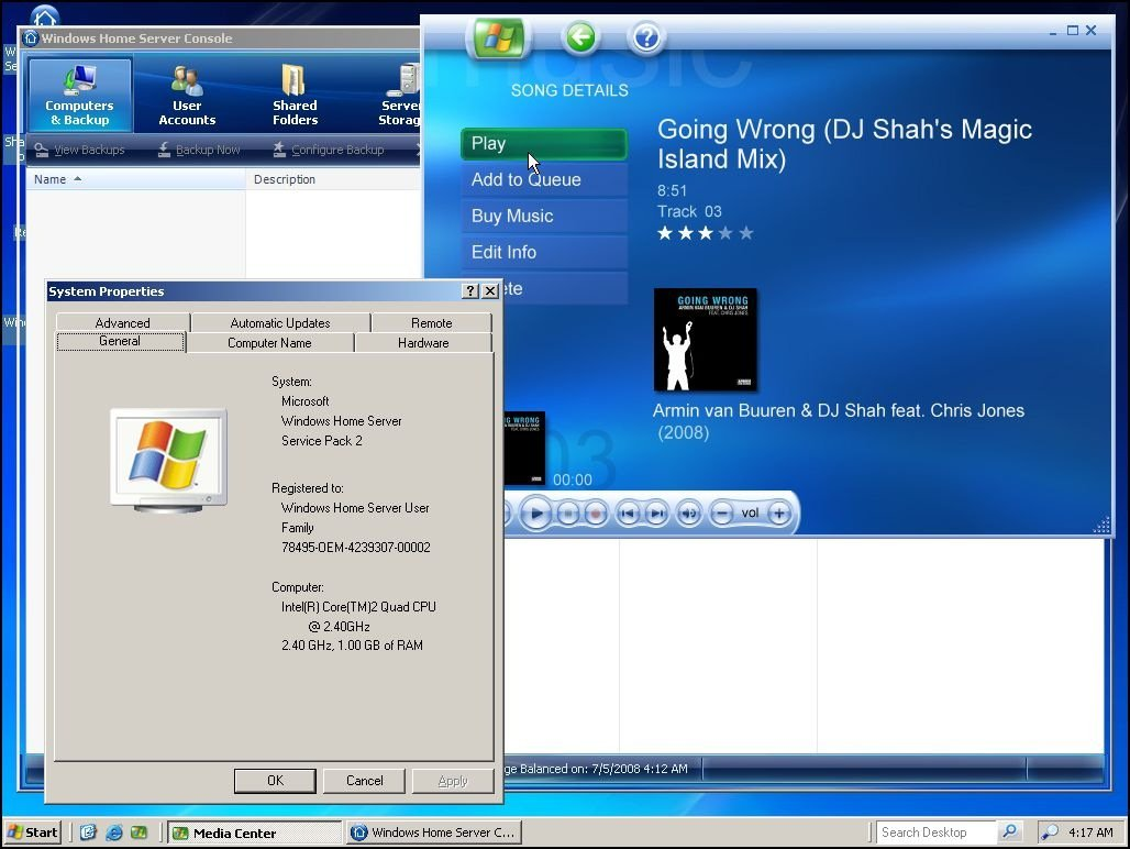 Media center 2005 on windows home server for Home on windows