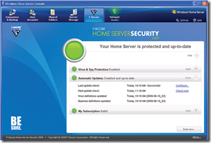 F-Secure Home Server Security 2009 Console