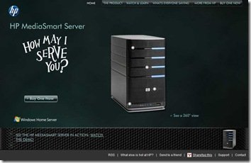 HP MediaSmart Server Campain Website