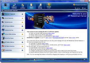 HP MediaSmart Server DashBoard 2.5 Welcome Screen