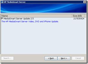 MediaSmart Server Update 2.5