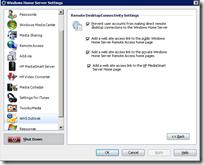 WHS Outlook 2.0 - Remote Desktop Settings 2