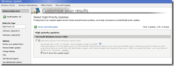 Windows Update ie8