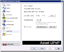 Asset UPnP WHS Settings