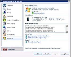 HP x510 server settings