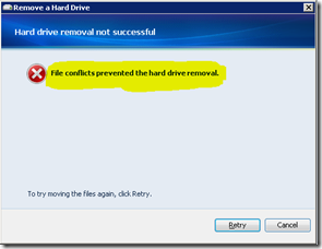File Conflicts Prevented Hard Drive Removal Error Message