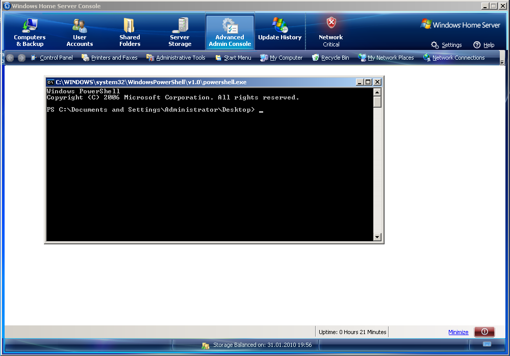 Powershell Within The Whs Console on Latest Javascript Write To Console