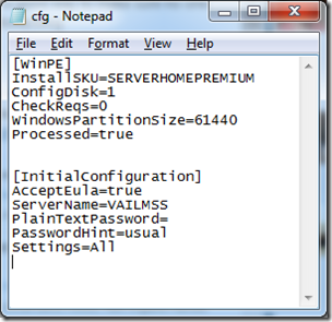 CFG INI File for WHS2011 Unattended Install