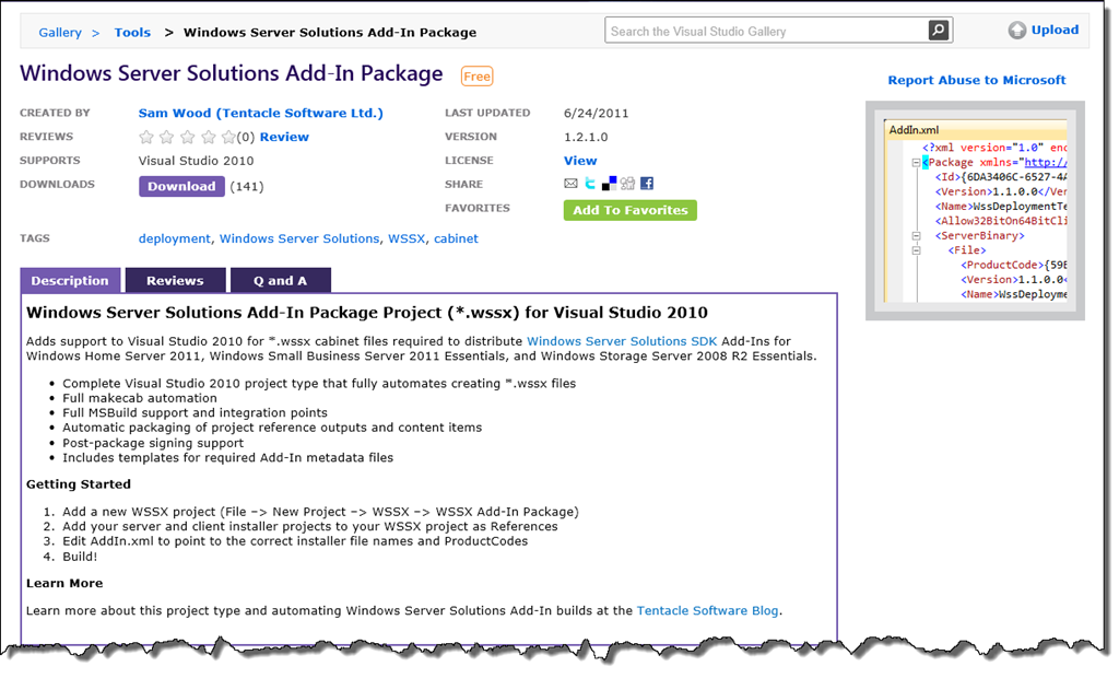 WSSX Add-In Package Project for Visual Studio 2010
