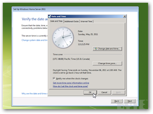 Installing WHS 2011 Date and Time