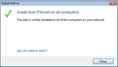 Add-in installation confirmation