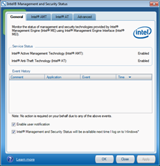 Intel Management and Security Status tool