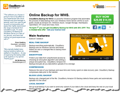 CloudBerry Backup for WHS 50 Percent Off