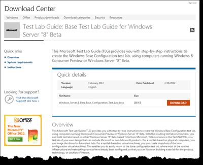 Windows Server 8 Beta Test Lab Guides