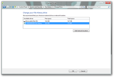 How-To Geek File History Change Drive Dialog