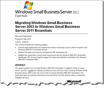 Migrating Windows SBS 2003 to Windows SBS 2011 Essentials Document
