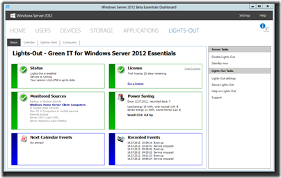 Lights-Out for WS2012e v1.5.2.1755 Beta - Status tab