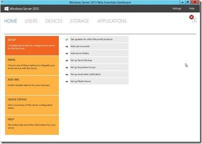 Windows Server 2012 Essentials Beta DashBoard Home Tab
