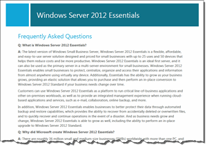 Windows Server 2012 Essentials FAQ
