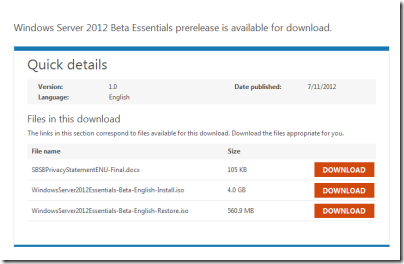 Windows Server 2012 Essentials Public Beta