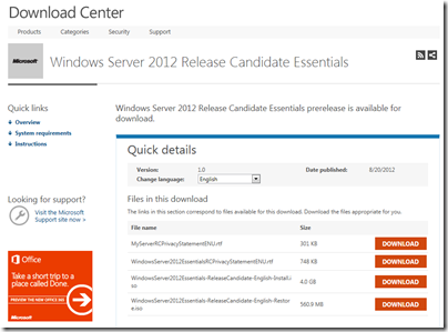 Windows Server 2012 Essentials RC is available