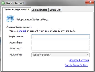 CloudBerry Glacier Storage Account