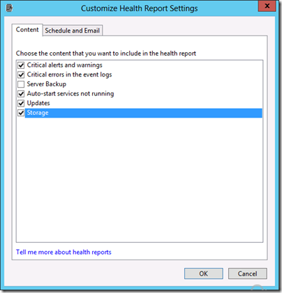 Health Report - Customize Health Report Settings