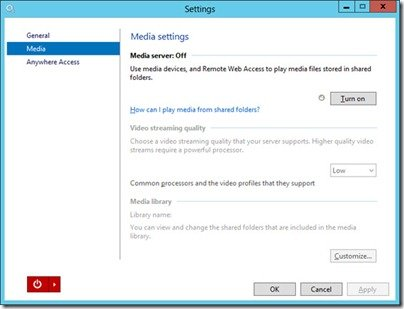 WS2012e Media Settings