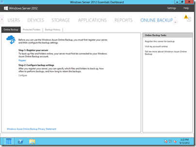 Windows Azure Online Backup Tab