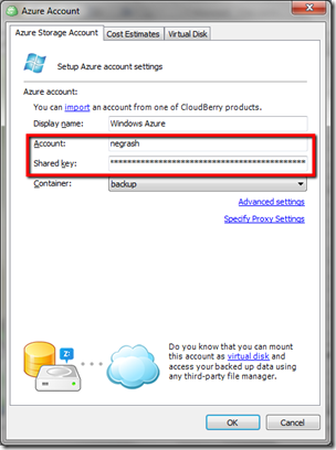 CloudBeery Backup with Windows Azure Setup