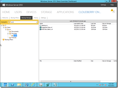 CloudBerry Backup for WS2012e - Backup Storage Tab