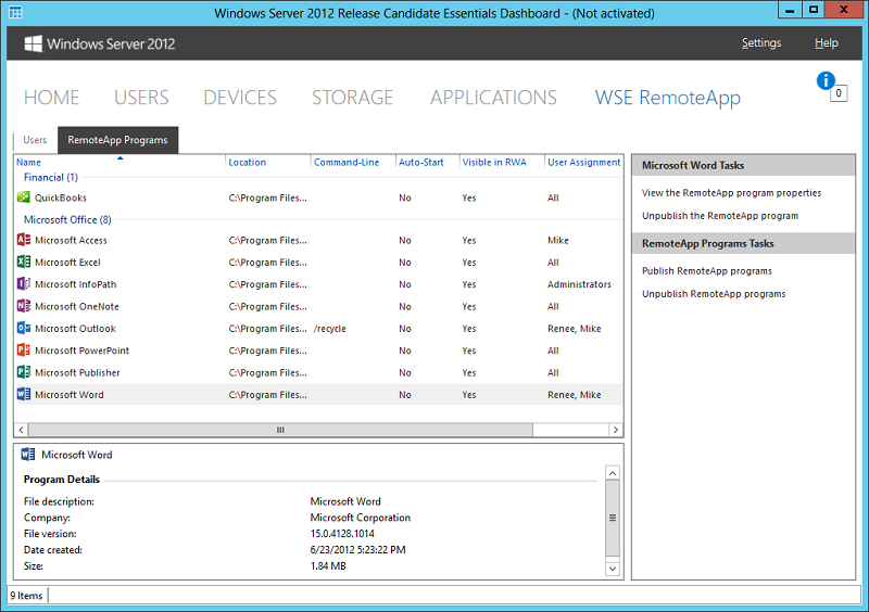 Add-In: WSE RemoteApp 2012