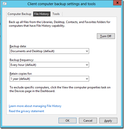 File History Configeration in WS2012e