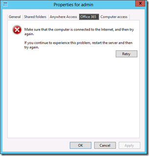 Office 365 Timeout from WS2012e Dashboard