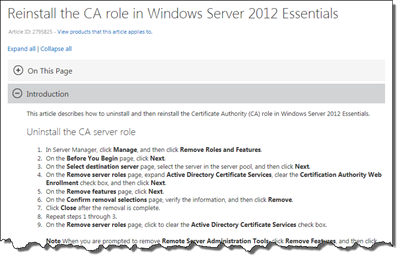Reinstall the CA role in WS2012e