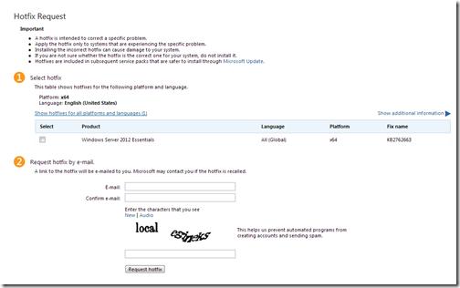 KB2762663 Hotfix Request