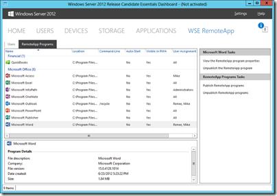 WSE RemoteApp 2012 Dashboard Programs Tab