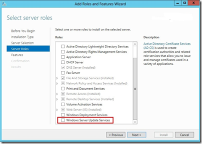 Add WSUS to WS2012e
