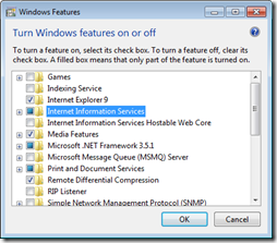 Figure 11 - Windows Desktop IIS Options