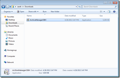 Figure 1 - Archive Manager download package