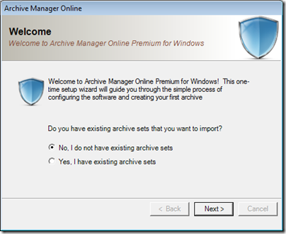 Figure 10 - Archive Manager one-time software configuration