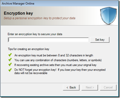 Figure 11 - Archive Manager encryption key configuration
