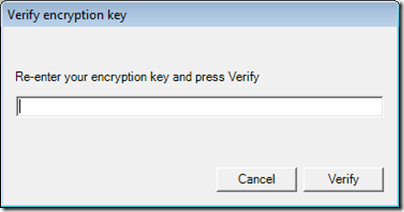 Figure 12 - Archive Manager encryption key validation