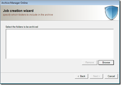 Figure 18 - Archive Manager select folders to protect