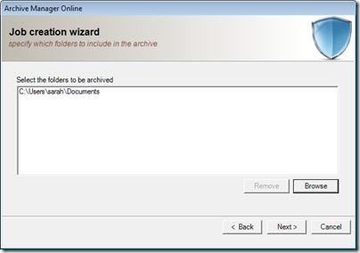 Figure 20 - Archive Manager folder selection view