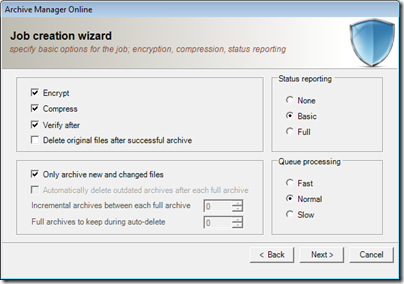 Figure 21 - Archive Manager general settings