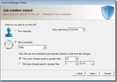 Figure 22 - Archive Manager schedule settings