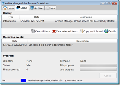 Figure 24 - Archive Manager status view