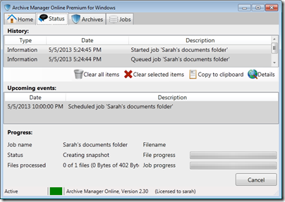 Figure 25 - Archive Manager progress during operation