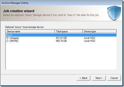 Figure 26 - using a proxy device to mail in large backup sets